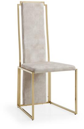 Sumo Collection DC1658F-BEI Dining Chair with Tall Backrest  Sled Base  Polished Gold Stainless Steel Frame and Fabric Upholstery in Beige