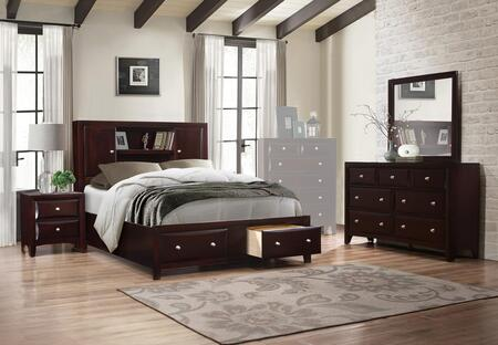 Boston Collection BS455FNMDR 4-Piece Bedroom Set with Full Size Storage Bed  Nightstand  Mirror and Dresser in Walnut