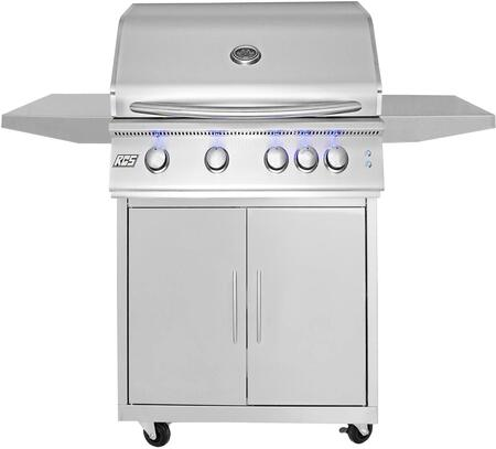 32″ Freestanding Liquid Propane Grill with Cart Premier Series with 4 Stainless Steel Tube Burners  Blue LED Illuminated Knobs  Rear Burner  and