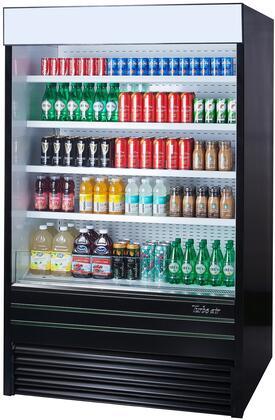 Turbo Air TOM48EBN Display and Merchandising Refrigerator Black, TOM48EBN Angled View