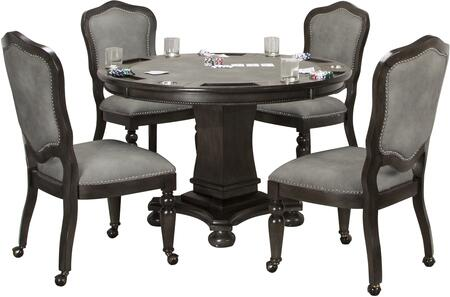 CR-87711-5PC 5-Piece Table Set with Poker/Dining Table + 4X Gaming/Dining Chairs  in Dark