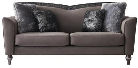 UFM801-DRK GRY VELVET CC-68-S Sofa with 4 Pillow Includded and Attached Back Cushions plus Flare Tapered Arms in Dark