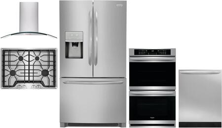 5 Piece Kitchen Appliances Package with FGHB2868TF 36″ French Door Refrigerator  FGET3066UF 30″ Double Wall Oven  FGGC3045QS 30″ Gas Cooktop