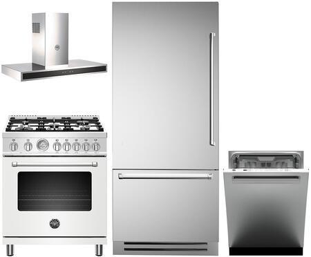 4 Piece Kitchen Appliances Package with REF36PIXL 36″ Bottom Freezer Refrigerator  MAST305DFMBIE 30″ Dual Fuel Range (Matte White)  KG30CONX 30″ Wall