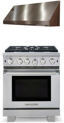 """2 Piece Kitchen Appliances Package with ARR530N 30"""" Gas Range and MAES3018SS600B 30"""" Under Cabinet Convertible Hood in Stainless"""