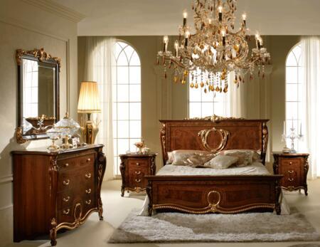 ESF Donatello DONATELLOBEDKS2NSDRMR Bedroom Set Brown, DONATELLOBEDKS-2NSDRMR