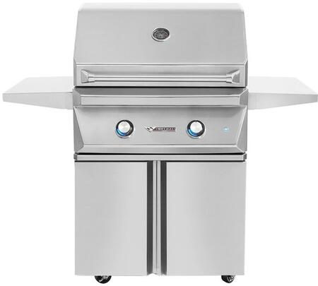 30″  Natural Gas Freestanding Grill with Cart  2 Main Burners with 50000 Total BTU  520 sq. in. Cooking Surface Area  Hexagonal Grates  Zone Dividers