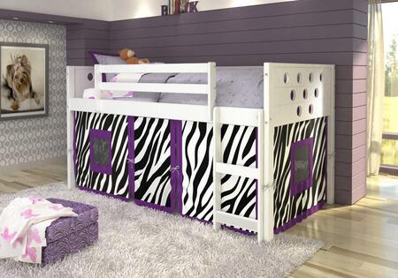 780A-TW-750C-TZ 79″ Low Loft with Zebra Colored Tent  Built in Ladder  Circle Cut Out Design Headboard and Footboard in
