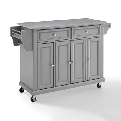 Full Size Kitchen Collection KF30002EGY Full Size Stainless Steel Top Kitchen Cart in Gray