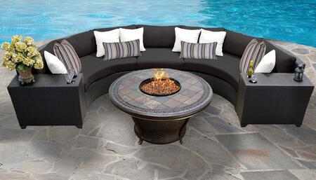 Barbados Collection BARBADOS-06h-BLACK Barbados 6-Piece Patio Set 06h with 1 Armless Chair   2 Cup Table   2 Curved Armless Chair   1 Tempe Firepit