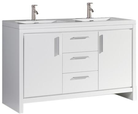 Miami Collection MTD-MI60W 60″ Double Sink Bathroom Vanity Set in