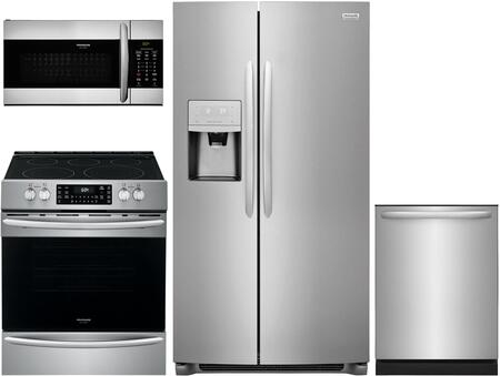 4 Piece Kitchen Appliances Package with FGSC2335TF 36″ Side by Side Refrigerator FGEH3047VF 30″ Slide-in Electric Range  FGMV155CTF 30″ Over the