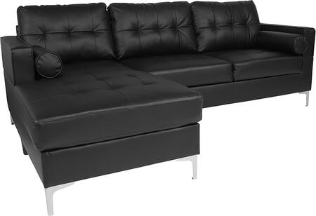 BT-S8376-SFCHSE-BK-GG Riverside Upholstered Tufted Back Sectional with Left Side Facing Chaise and Bolster Pillows in Black