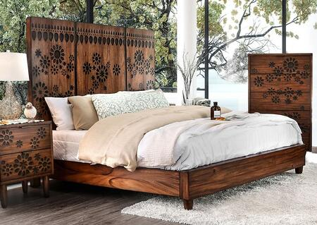 Amarantha Collection CM7362 Queen Bed With Panel Headboard  Round Tapered Feet And Burned Wood Design In Dark