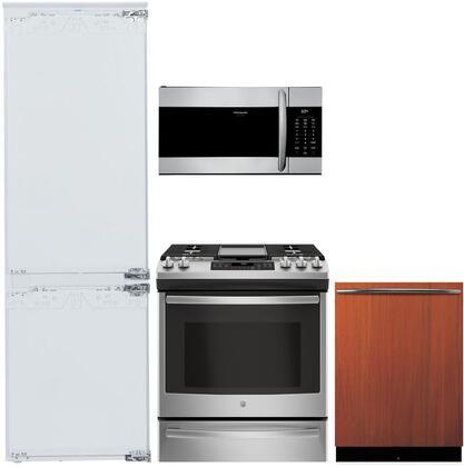 """4 Piece Kitchen Appliances Package with Liebherr HC1050B 24"""" Counter Depth Refrigerator GE JGS760SELSS 30"""" Slide-in Gas Range Viking FDWU524WS 24"""""""