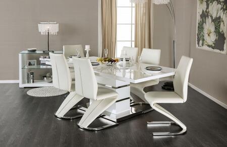 Furniture of America Midvale CM3650T6SC Dining Room Set White, main image