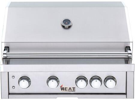 HTGR32-4-NG 32″ Natural Gas Built-In Grill with 4 Cast Stainless Steel Burners  Infrared Back Burner  Cool Blue LED Lights and 16-Gauge Flame Tamer