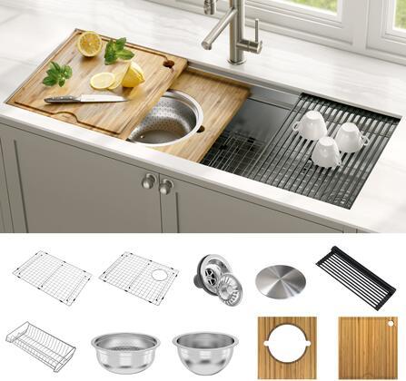 KRAUS Kore KWU120-45 2-Tier Workstation 45-inch Undermount 16 Gauge Single Bowl Stainless Steel Kitchen Sink with Accessories (Pack of