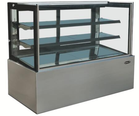KBF-48D 48″ Dry Flat Glass Display Case with 13.7 cu. ft. Capacity  LED Lighting and 2 Adjustable Shelves in Stainless