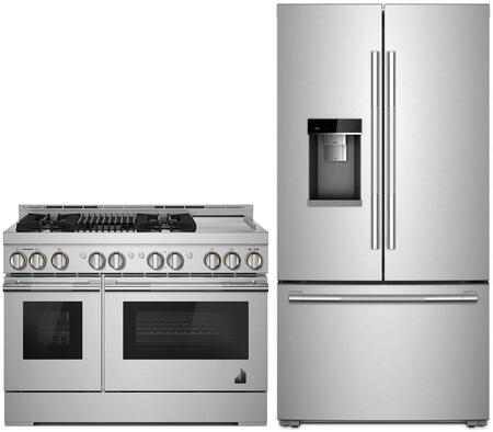"""2 Piece RISE Series Smart Kitchen Appliances Package with JFFCC72EHL 36"""" French Door Refrigerator and JGRP748HL 48"""" Gas Range in Stainless"""