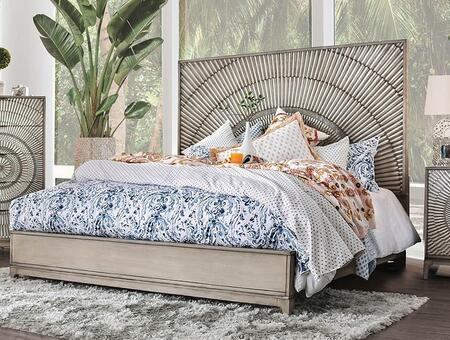 Kamalah Collection CM7521EK-BED King Size Bed with Tall Panel Headboard  Poly-Resin Design and Tapered Block Feet in Antique