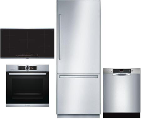 4 Piece Wi-Fi Connected Kitchen Appliances Package with B30BB930SS 30″ Bottom Freezer Refrigerator  HBE5452UC 24″ Single Wall Oven  NIT8669SUC 36″