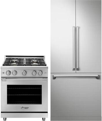 2 Piece Kitchen Appliances Package with DRF367500AP 36″ French Door Refrigerator and HGPR30SNGH 30″ Gas Range in Stainless