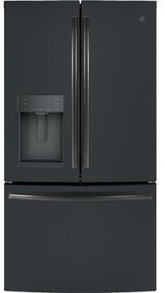 GE GFD28GELDS French Door Refrigerator Black Slate, Front