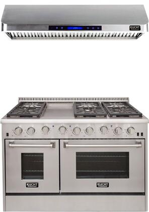 """Professional Series 2 Piece Kitchen Appliances Package with KRD486F 48"""" Natural Gas Dual Fuel Range and KRH4801U 48"""" Digital Control Hood in"""