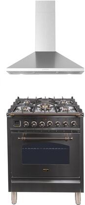 2 Piece Kitchen Appliances Package with UPN76DMPIY 30″ Dual Fuel Gas Range and BRAVO30 30″ Wall Mount Convertible Hood in Stainless