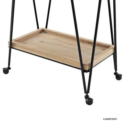 Linon Ellie AJUBAR1KD01 Serving Carts, AJUBAR1KD01 Mid Century Rectangular Bar Cart Bottom Shelf