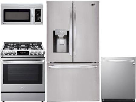 4 Piece Kitchen Appliances Package with LFXS26973S 36″ French Door Refrigerator  LRG3194ST 30″ Gas Range  LMV1831ST 30″ Over the Range Microwave and