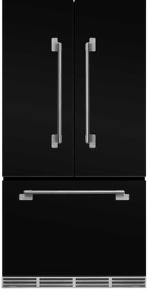 """MELFDR23BLK 36"""" Elise Counter Depth French Door Refrigerator With Storage Drawer 12 Temperature Settings 22.2 cu. ft. Capacity Adjustable Glass"""