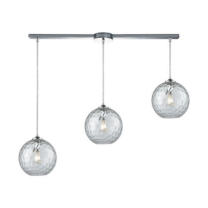 31380/3L-CLR Watersphere 3 Light Linear Bar Fixture in Polished Chrome with Clear Hammered
