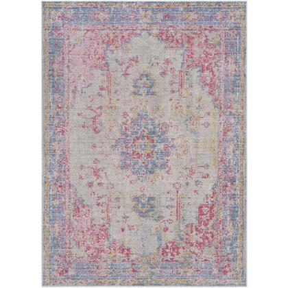 """Antioch AIC-2306 9′ x 12'10"""" Rectangle Traditional Rugs in Violet  Bright Pink  Garnet  Medium Gray  Lavender  Bright Yellow  Sea"""