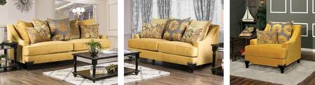 Furniture of America Viscontti SM2201SLC Living Room Set Gold, main image