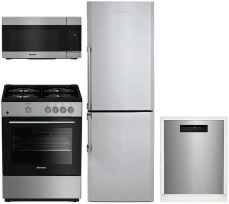 4 Piece Kitchen Appliances Package with BRFB1312SS 24″ Bottom Freezer Refrigerator  BGR24102SS 24″ Gas Range  BOTR30100SS 30″ Over the Range
