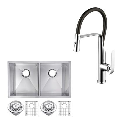 CF511-UD-3118A 31″ X 18″ Zero Radius 50/50 Double Bowl Stainless Steel Hand Made Undermount Kitchen Sink With Drains  Strainers  Bottom Grids  And