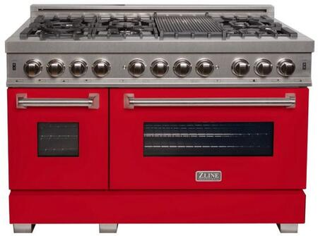 """RAS-RM-48 48"""" Red Matte Professional Natural Gas Dual Fuel Range with 6 Italian Burners 6 cu. ft. Capacity Oven Griddle Cast Iron Grates and Dual"""