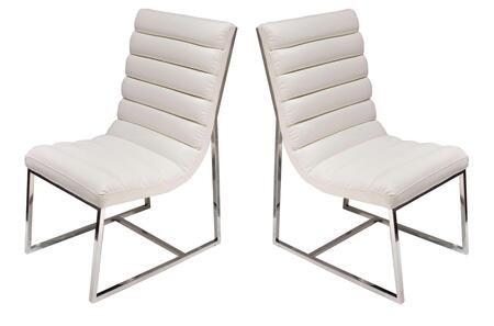 """Bardot_Collection_BARDOTDCWH2_Set_of_(2)_38""""_Dining_Side_Chairs_with_Stainless_Steel_Frame__Channel_Tufted_Design_and_Bonded_Leather_Upholstery_in"""