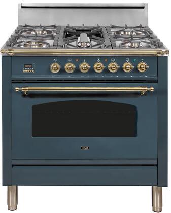 Ilve Nostalgie UPN90FDVGGGULP Freestanding Gas Range Blue, Blue Grey Custom RAL Color