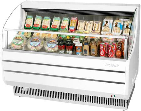 Turbo Air TOM60SWN Display and Merchandising Refrigerator White, TOM60SWN Angled View