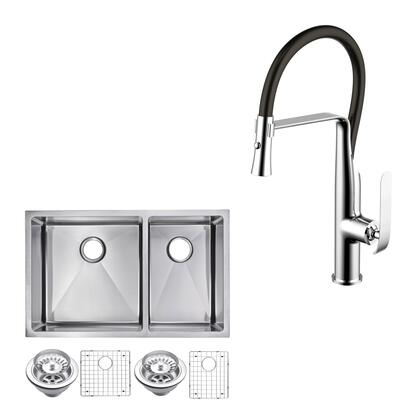 CF511-UD-3220B 33″ X 20″ 15mm Corner Radius 60/40 Double Bowl Stainless Steel Hand Made Undermount Kitchen Sink With Drains  Strainers  Bottom Grids
