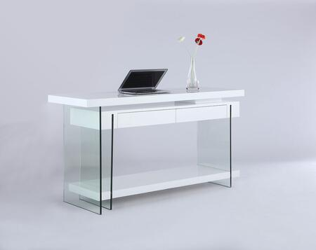 6920-DSK Rotatable Wooden Desk with 2 Drawers & Shelf in Gloss