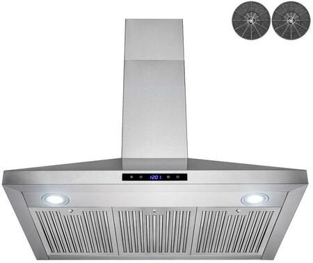 RH0432 36″ Convertible Wall Mount Range Hood with 343 CFM  LED Lighting  3 Speed Levels and Digital Touch Controls  Baffle Filters in Stainless