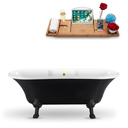 N103BL-GLD 68″ Clawfoot Tub and Tray With External Drain in Black and