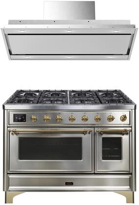 2 Piece Kitchen Appliances Package with UM12FDNS3SSG 48″ Dual Fuel Gas Range and VERTICE48 48″ Mount Convertible Hood in Stainless