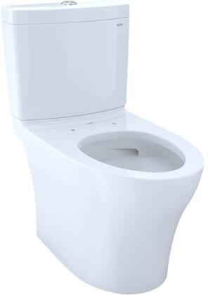 Aquia IV Series CST446CEMG#01 Coupled Toilet with DynaMax Tornado Flush  Skirted Design  Chrome Push Button  Water Flow Resistance  in Cotton