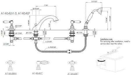 Rohl A1464LPIB TUB FILLERS Italian Brass