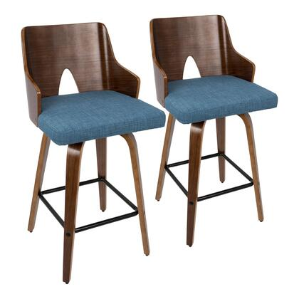 Ariana Collection B26-ARIAXWLBU2 Set of 2 Counter Height Stool with Fabric Upholstery  Mid-Century Modern Style  360-Degree Swivel Seat  Tapered Legs